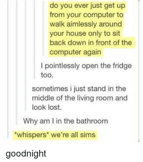 Memes, Lost, and Computer: do you ever just get up  from your computer to  walk aimlessly around  your house only to sit  back down in front of the  computer again  I pointlessly open the fridge  too.  sometimes i just stand in the  middle of the living room and  look lost.  Why am l in the bathroom  whispers we're all sims goodnight