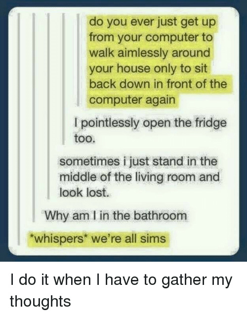 Lost, Computer, and House: do you ever just get up  from your computer to  walk aimlessly around  your house only to sit  back down in front of the  computer again  I pointlessly open the fridge  too.  sometimes i just stand in the  middle of the living room and  look lost.  Why am I in the bathroom  whisperst we're all sims I do it when I have to gather my thoughts