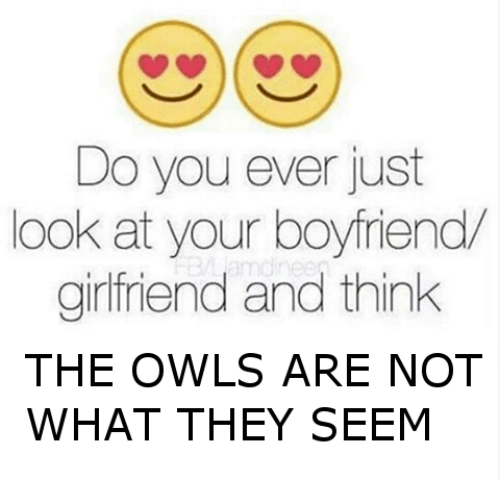 Girlfriend, Boyfriend, and Dank Memes: Do you ever just  look at your boyfriend  girlfriend and think  THE OWLS ARE NOT  WHAT THEY SEEM