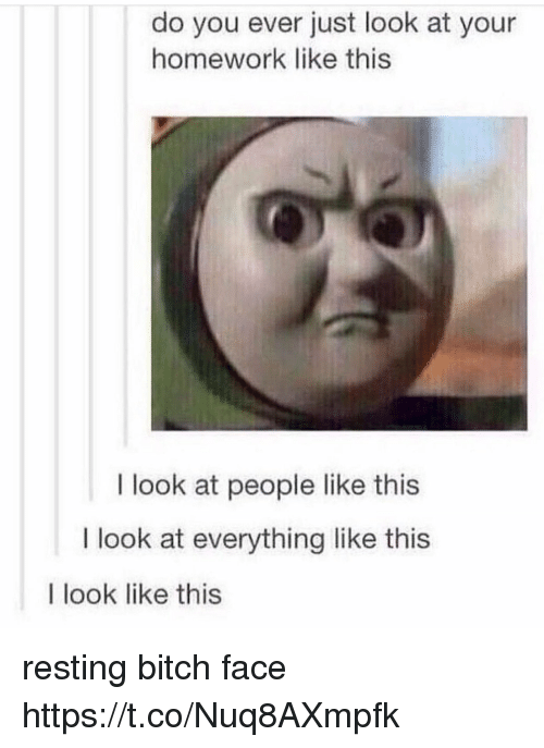 do you ever just look at your homework like this 28554976 ✅ 25 best memes about resting bitch face resting bitch face memes