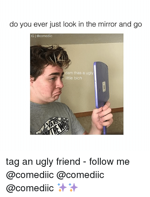 Memes, Ugly, and Mirror: do you ever just look in the mirror and go  IG | @comediic  dam thas a ugly  little bich tag an ugly friend - follow me @comediic @comediic @comediic ✨✨