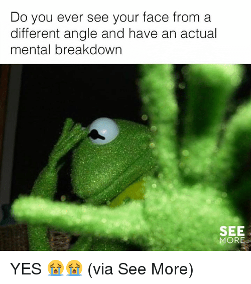 Memes, 🤖, and Yes: Do you ever see your face from a  different angle and have an actual  mental breakdown  SEE  MORE YES 😭😭  (via See More)