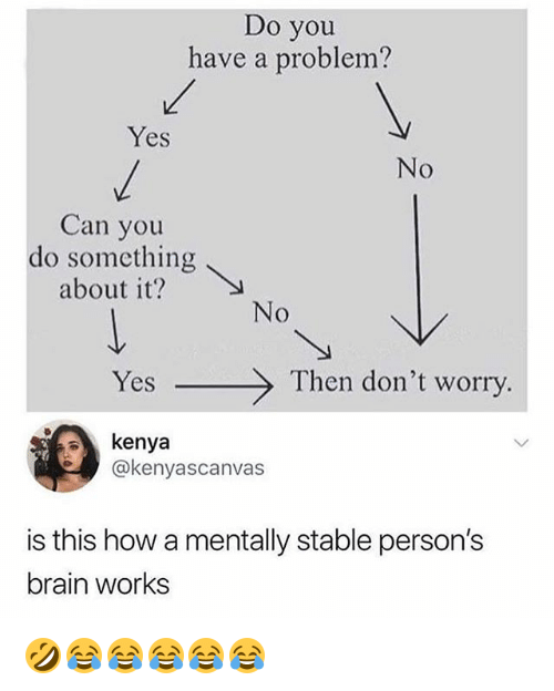 Brain, Girl Memes, and How: Do you  have a problem?  Yes  No  Can you  do something  about t?  Yes  Then don't worry  kenya  @kenyascanvas  is this how a mentally stable person's  brain works 🤣😂😂😂😂😂