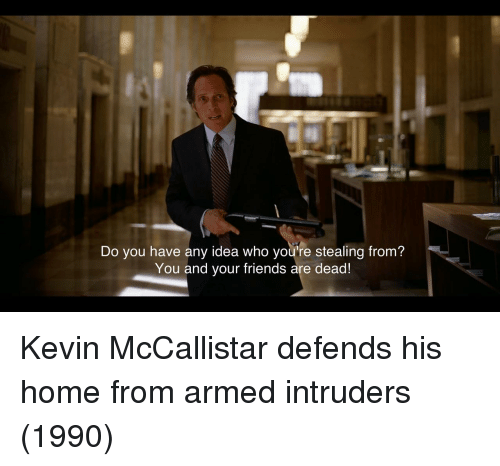 Friends, Home, and Idea: Do you have any idea who you're stealing from?  You and your friends are dead! Kevin McCallistar defends his home from armed intruders (1990)