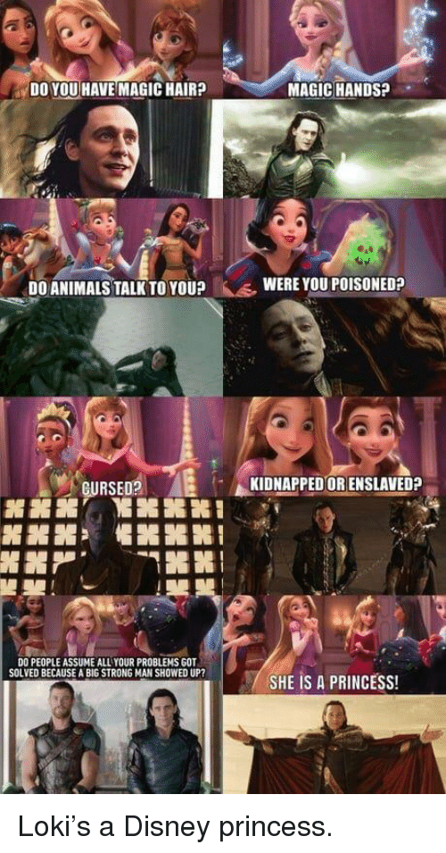 """Animals, Disney, and Hair: DO YOU HAVE MAGIC HAIR?  MAGIC HANDS?  .  DO ANIMALS TALK TO YOU?  WERE YOU POISONED?  GURSED?  KIDNAPPED OR ENSLAVED?  噐噐  懼噐嘂噐!  """"  朢  DO PEOPLE ASSUME ALL YOUR PROBLEMS GOT  SOLVED BECAUSE A BIG STRONG MAN SHOWED UP?  / SHE IS A PRINCESS! Loki's a Disney princess."""