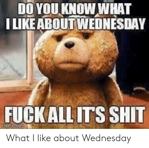 Shit, Wednesday, and You: DO YOU KNOW WHAT  LIKE ABOUT WEDNESDAY  FUCKALLITS SHIT What I like about Wednesday