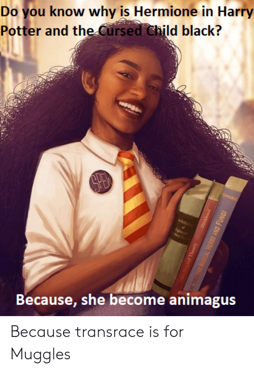 Harry Potter, Hermione, and Reddit: Do you know why is Hermione in Harry  Potter and the Cursed Child black?  Because, she become animagus Because transrace is for Muggles