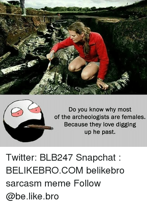 Be Like, Love, and Meme: Do you know why most  of the archeologists are females.  Because they love digging  up he past. Twitter: BLB247 Snapchat : BELIKEBRO.COM belikebro sarcasm meme Follow @be.like.bro
