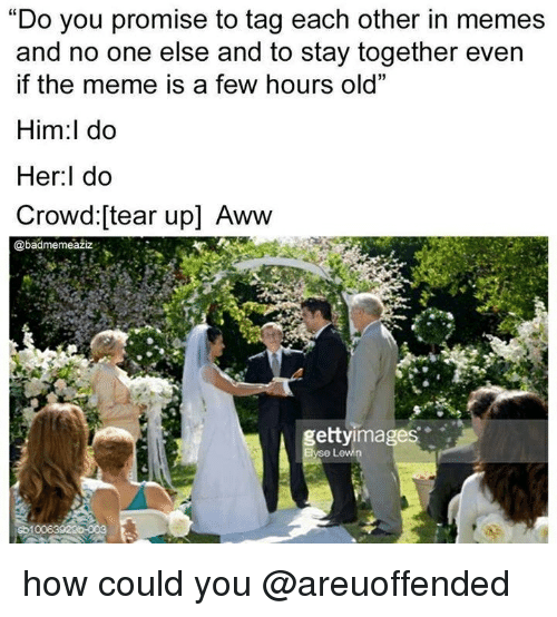 """Aww, Meme, and Memes: """"Do you promise to tag each other in memes  and no one else and to stay together even  if the meme is a few hours old""""  Him:l do  Her:l do  Crowd:[tear up] Aww  @badmemeažiz  gettyimages how could you @areuoffended"""