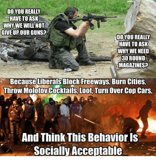 Cars, Guns, and Memes: DO YOU REALLY  HAVE TO ASK  WHYWE WILL NOT  GIVE UPOUR GUNS?  DO YOU REALLY  HAVE TO ASK  WHY WE NEED  30 ROUND  MAGAZINESP  Because Liberals Block Freeways, Burn Cities.  Throw Molotov Cocktails, Loot. Turn Over Cop Cars  And Think This Behavior Is  Socially Acceptable