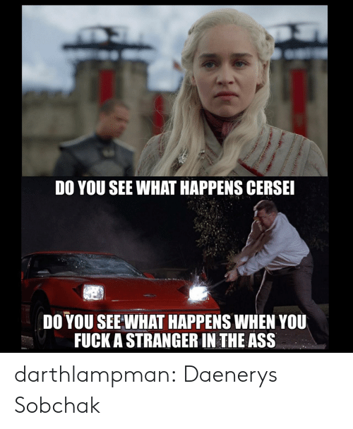 Tumblr, Blog, and Com: DO YOU SEE WHAT HAPPENS CERSE  DO YOU SEE WHAT HAPPENS WHEN YOU  FUCK A STRANGER IN THE ASS darthlampman:  Daenerys Sobchak
