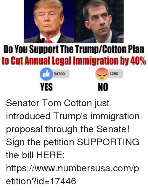Memes, 🤖, and Cotton: Do You SupportThe TrumplCotton Plan  to Cut Annual Legal Immigration by 40%  1250  54700  NO  YES Senator Tom Cotton just introduced Trump's immigration proposal through the Senate! Sign the petition SUPPORTING the bill HERE: https://www.numbersusa.com/petition?id=17446