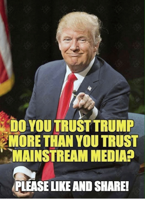 Memes, Trump, and 🤖: DO YOU TRUST TRUMP  MORE THAN YOU TRUST  MAINSTREAM MEDIAP  PLEASE LIKE AND SHARE!