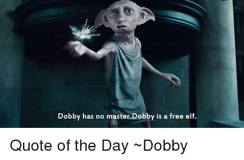 Elf, Memes, and Free: Dobby has no master.Dobby is a free elf. Quote of the Day ~Dobby