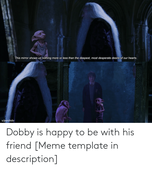 Funny, Meme, and Happy: Dobby is happy to be with his friend [Meme template in description]