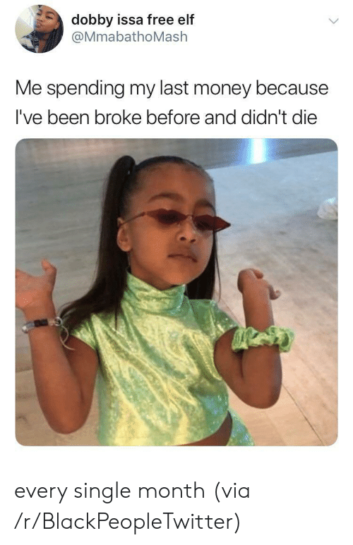 Blackpeopletwitter, Elf, and Money: dobby issa free elf  @MmabathoMash  Me spending my last money because  I've been broke before and didn't die every single month (via /r/BlackPeopleTwitter)
