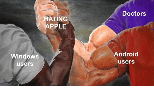 Android, Apple, and Windows: Doctors  HATING  APPLE  Windows  Android  users  users