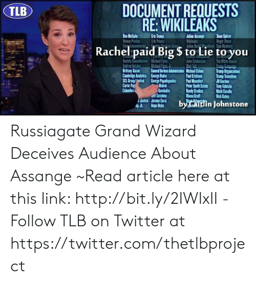 DOCUMENT REQUESTS RE WIKILEAKS TLB Rachel Paid Big $ to Lie