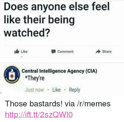 """Memes, Http, and Cia: Does anyone else feel  like their being  watched?  Like  Comment  → Share  Central Intelligence Agency (CIA)  *Theyre  Just now Like Reply <p>Those bastards! via /r/memes <a href=""""http://ift.tt/2szQWI0"""">http://ift.tt/2szQWI0</a></p>"""