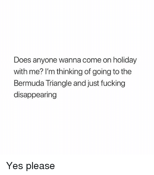 Bermuda Triangle, Fucking, and Memes: Does anyone wanna come on holiday  with me? I'm thinking of going to the  Bermuda Triangle and just fucking  disappearing Yes please