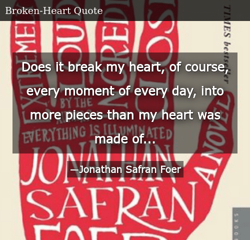 Does It Break My Heart of Course Every Moment of Every Day Into More
