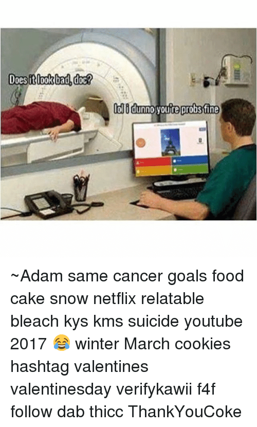 Bad, Cookies, and Food: Does it look bad doc?  lolidunn0 youre probstfine ~Adam same cancer goals food cake snow netflix relatable bleach kys kms suicide youtube 2017 😂 winter March cookies hashtag valentines valentinesday verifykawii f4f follow dab thicc ThankYouCoke