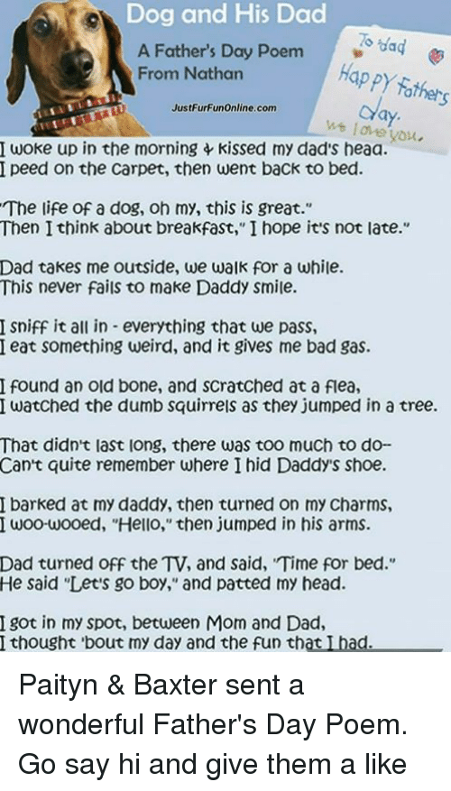 Dog and His Dad a Father's Day Poem Gag Happy Father From Nathan