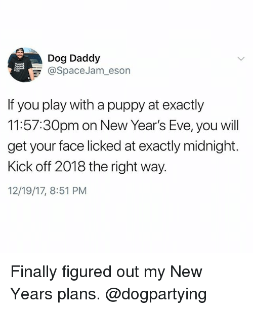 Memes, Puppy, and 🤖: Dog Daddy  @SpaceJam-eson  If you play with a puppy at exactly  11:57:30pm on New Year's Eve, you will  get your face licked at exactly midnight.  Kick off 2018 the right way.  12/19/17, 8:51 PM Finally figured out my New Years plans. @dogpartying