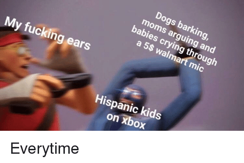 Crying, Dogs, and Fucking: Dogs barking  moms arguing and  babies crying through  a 5$ walmart mic  My fucking ears  Hispanic kids  on xbox <p>Everytime</p>