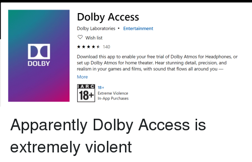 Dolby Access Dolby Laboratories Entertainment Wish List **140