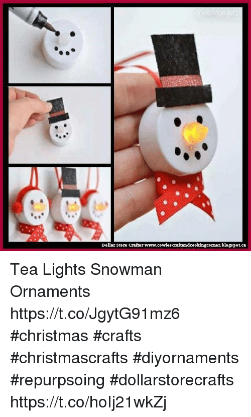 Dollar Store Crafter Wwwcowies Craftandcookingcornerblogspotca Tea Lights  Snowman Ornaments HttpstcoJgytG91mz6 #Christmas #Crafts #Christmascrafts ...