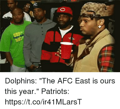 "Memes, Patriotic, and Dolphins: Dolphins: ""The AFC East is ours this year.""  Patriots: https://t.co/ir41MLarsT"