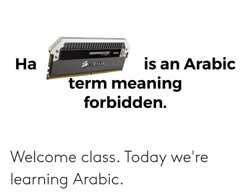 Meaning, Today, and Class: DOMINATOR  PLATINUM  DDR4  Ha  is an Arabic  CORSAIR  term meaning  forbidden.  2666 Welcome class. Today we're learning Arabic.
