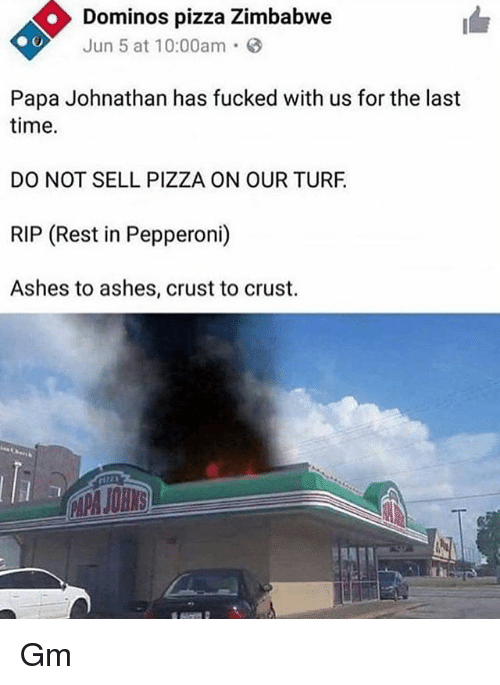 Memes, Pizza, and Domino's Pizza: Dominos pizza Zimbabwe  Jun 5 at 10:00am  Papa Johnathan has fucked with us for the last  time.  DO NOT SELL PIZZA ON OUR TURF  RIP (Rest in Pepperoni)  Ashes to ashes, crust to crust  APA JOHNS Gm