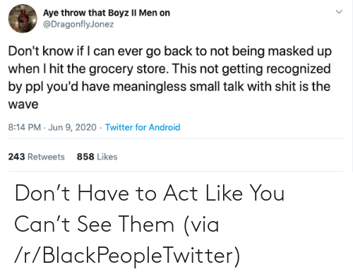 Blackpeopletwitter, Act, and Can: Don't Have to Act Like You Can't See Them (via /r/BlackPeopleTwitter)