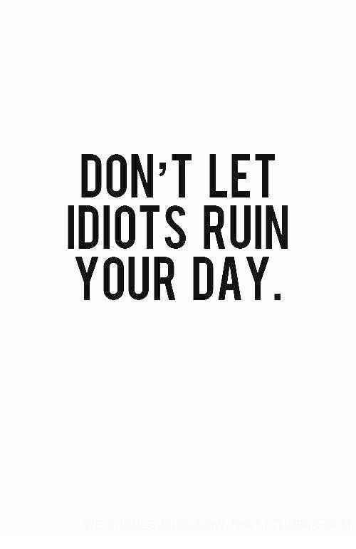 Don, Day, and Ruin Your Day: DON T LET  IDIOTS RUIN  YOUR DAY