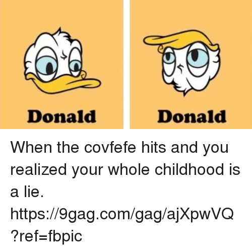 9gag, Dank, and 🤖: Donald  Donald When the covfefe hits and you realized your whole childhood is a lie. https://9gag.com/gag/ajXpwVQ?ref=fbpic