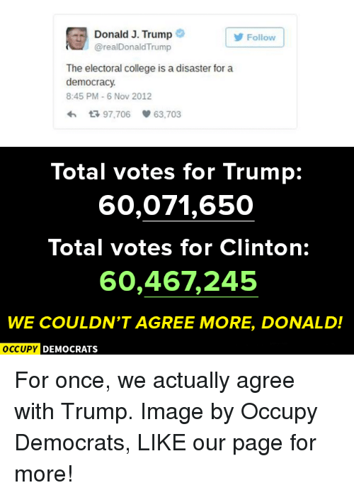 College, Memes, and Image: Donald J. Trump  Follow  @realDonaldTrump  The electoral college is a disaster for a  democracy.  8:45 PM 6 Nov 2012  97.706 63.703  Total votes for Trump  60,071,650  Total votes for Clinton:  60,467245  WE COULDN'T AGREE MORE, DONALD!  OCCUPY DEMOCRATS For once, we actually agree with Trump.  Image by Occupy Democrats, LIKE our page for more!