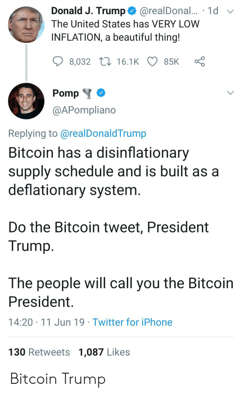 Beautiful, Iphone, and Twitter: Donald J. Trump  @realDonal... 1d  The United States has VERY LOW  INFLATION, a beautiful thing!  8,032 16.1K  85K  Pomp  @APompliano  Replying to @realDonaldTrump  Bitcoin has a disinflationary  supply schedule and is built as a  deflationary system.  Do the Bitcoin tweet, President  Trump  The people will call you the Bitcoin  President  14:20 11 Jun 19 Twitter for iPhone  130 Retweets 1,087 Likes Bitcoin Trump