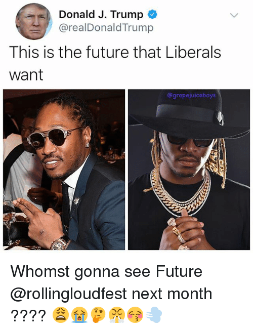 Future, Trump, and Dank Memes: Donald J. Trump  @realDonaldTrump  This is the future that Liberals  Want  @grapejuiceboys Whomst gonna see Future @rollingloudfest next month ???? 😩😭🤔😤😚💨