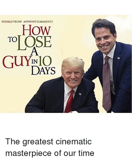 Donald Trump, How To, and Time: DONALD TRUMP  ANTHONY SCARAMUCCI  How  TO  GUYINIO  DAYS The greatest cinematic masterpiece of our time