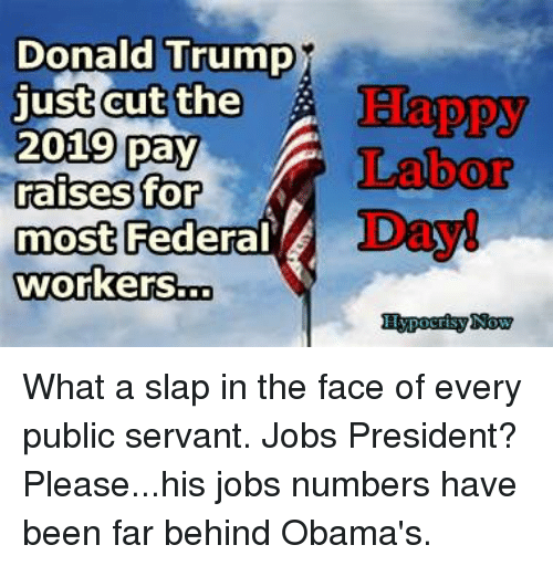 Donald Trump Just Cut The 2019 Pay Aises For Most Workersto Happy