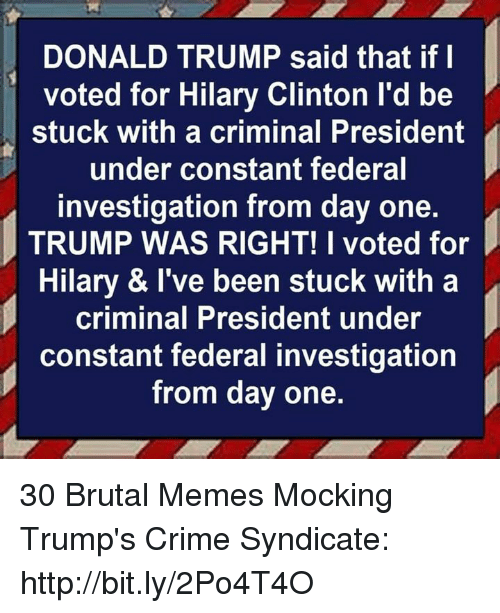 Crime, Donald Trump, and Memes: DONALD TRUMP said that if l  voted for Hilary Clinton l'd be  stuck with a criminal President  under constant federal  investigation from day one.  TRUMP WAS RIGHT! I voted for  Hilary & I've been stuck with a  criminal President under  constant federal investigation  from day one. 30 Brutal Memes Mocking Trump's Crime Syndicate: http://bit.ly/2Po4T4O
