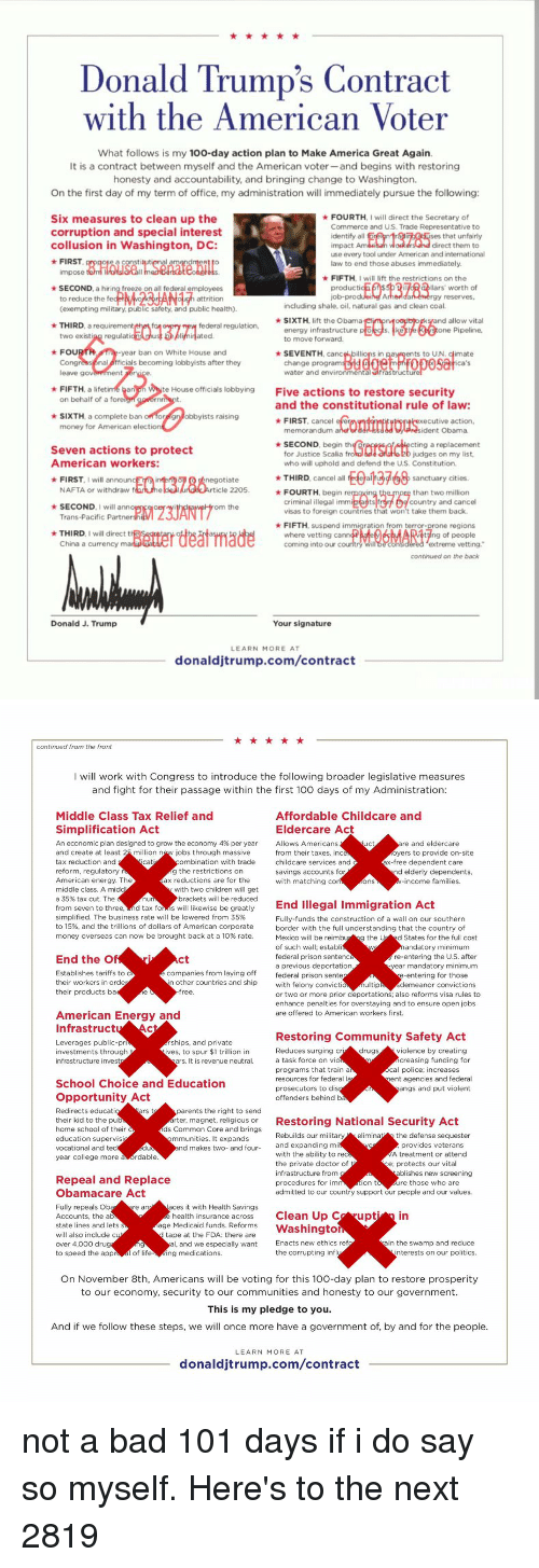 Donald Trump's Contract With the American Voter What ...