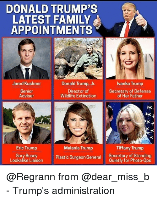 donald trumps latest family appointments jared kushner donald trump jr 12450551 ✅ 25 best memes about tiffany trump tiffany trump memes,Trump Family Meme
