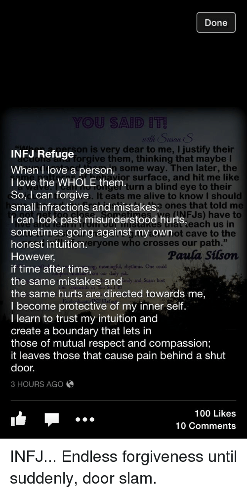 Done YOU SAID With Suan S INFJ Refuge Son Is Very Dear to Me
