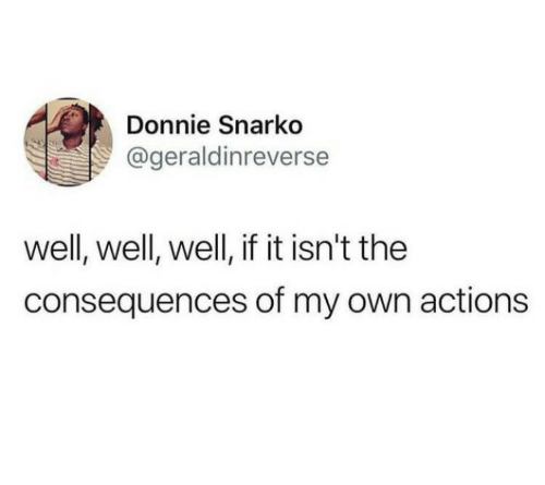 Own, Well, and Donnie: Donnie Snarko  ageraldinreverse  well, well, well, if it isn't the  consequences of my own actions