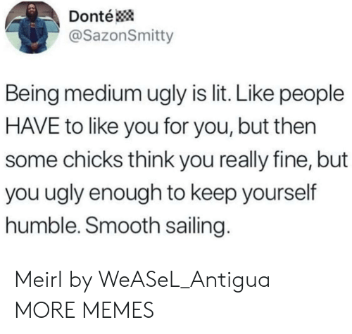 Dank, Lit, and Memes: Donté  @SazonSmitty  Being medium ugly is lit. Like people  HAVE to like you for you, but then  some chicks think you really fine, but  you ugly enough to keep yourself  humble. Smooth sailing. Meirl by WeASeL_Antigua MORE MEMES