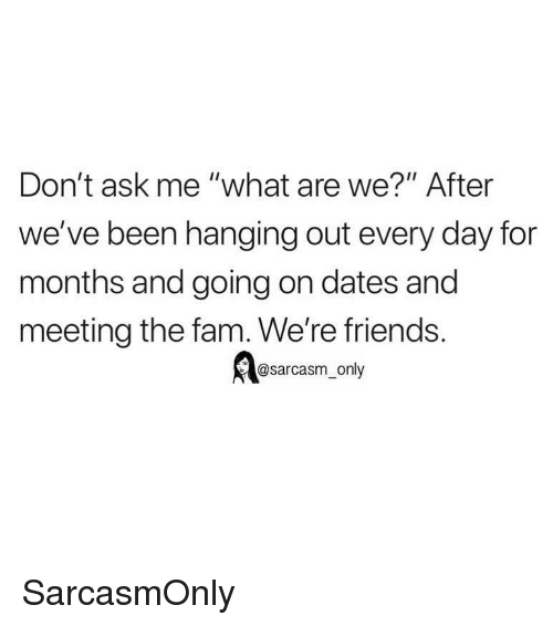 """Fam, Friends, and Funny: Don't ask me """"what are we?"""" After  we've been hanging out every day for  months and going on dates and  meeting the fam. We're friends.  @sarcasm_only SarcasmOnly"""