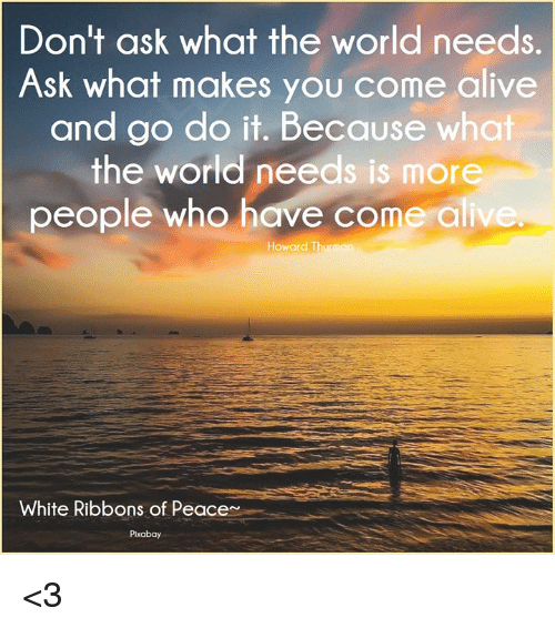 Don't Ask What the World Needs Ask What Makes You Come Alive
